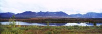 Lake with a mountain range in the background, Mt McKinley, Denali National Park, Anchorage, Alaska, USA Fine-Art Print