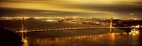 Golden Gate Bridge and San Francisco Skyline Lit Up at Night Fine-Art Print