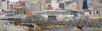 Bridge across a river, Paul Brown Stadium, Cincinnati, Hamilton County, Ohio, USA Fine-Art Print