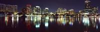 Buildings at night, Lake Eola, Orlando, Florida Fine-Art Print