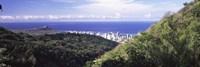 Mountains with city at coast in the background, Honolulu, Oahu, Honolulu County, Hawaii, USA Fine-Art Print