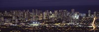 High angle view of a city lit up at night, Honolulu, Oahu, Honolulu County, Hawaii Fine-Art Print