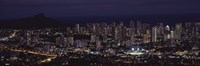 High angle view of a city lit up at night, Honolulu, Oahu, Honolulu County, Hawaii, USA Fine-Art Print