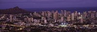 High angle view of a city lit up at dusk, Honolulu, Oahu, Honolulu County, Hawaii Fine-Art Print