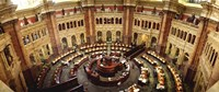 High angle view of a library reading room, Library of Congress, Washington DC, USA Fine-Art Print