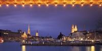 Switzerland, Zurich, Cityscape of Zurich at Christmas Fine-Art Print