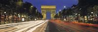 View Of Traffic On An Urban Street, Champs Elysees, Arc De Triomphe, Paris, France Fine-Art Print