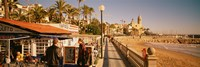 Tourists in a cafe, Tapas Cafe, Sitges Beach, Catalonia, Spain Fine-Art Print