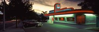 Restaurant lit up at dusk, Route 66, Albuquerque, Bernalillo County, New Mexico, USA Fine-Art Print