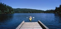 Rear view of a man on a kayak in a river, Orcas Island, Washington State, USA Fine-Art Print