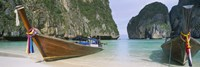 Longtail boats moored on the beach, Mahya Beach, Ko Phi Phi Lee, Phi Phi Islands, Thailand Fine-Art Print