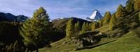 Low angle view of a mountain peak, Matterhorn, Valais, Switzerland Fine-Art Print