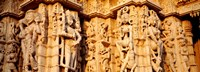 Sculptures carved on a wall of a temple, Jain Temple, Ranakpur, Rajasthan, India Fine-Art Print