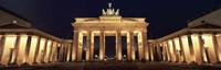 Low angle view of a gate lit up at night, Brandenburg Gate, Berlin, Germany Fine-Art Print