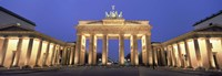 Low angle view of a gate lit up at dusk, Brandenburg Gate, Berlin, Germany Fine-Art Print
