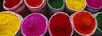 High angle view of various powder paints, Braj, Mathura, Uttar Pradesh, India Fine-Art Print