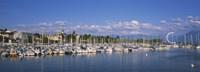 Boats moored at a harbor, Lake Geneva, Lausanne, Switzerland Fine-Art Print