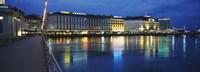 Buildings lit up at night, Geneva, Switzerland Fine-Art Print