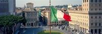 Italian flag fluttering with city in the background, Piazza Venezia, Vittorio Emmanuel II Monument, Rome, Italy Fine-Art Print