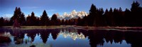 Reflection of mountains with trees in the river, Teton Range, Snake River, Grand Teton National Park, Wyoming, USA Fine-Art Print
