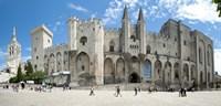 People in front of a palace, Palais des Papes, Avignon, Vaucluse, Provence-Alpes-Cote d'Azur, France Fine-Art Print