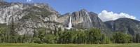 Panoramic view of Yosemite Falls and the Yosemite meadow in late spring, Yosemite National Park, California, USA Fine-Art Print