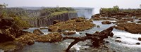 Log on the rocks at the top of the Victoria Falls with Victoria Falls Bridge in the background, Zimbabwe Fine-Art Print