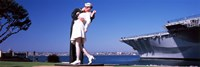 Kiss between sailor and nurse sculpture, Unconditional Surrender, San Diego Aircraft Carrier Museum, San Diego, California, USA Fine-Art Print