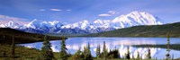 Snow Covered Mountains, Mountain Range, Wonder Lake, Denali National Park, Alaska, USA Fine-Art Print