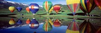 Reflection Of Hot Air Balloons On Water, Colorado, USA Fine-Art Print