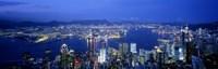 Hong Kong with Bright Blue Night Sky, China Fine-Art Print