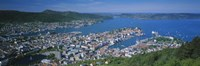 High angle view of a city, Bergen, Hordaland, Norway Fine-Art Print