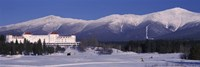 Hotel near snow covered mountains, Mt. Washington Hotel Resort, Mount Washington, Bretton Woods, New Hampshire, USA Fine-Art Print