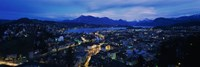 Aerial view of a city at dusk, Lucerne, Switzerland Fine-Art Print