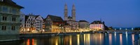 Buildings at the waterfront, Grossmunster Cathedral, Zurich, Switzerland Fine-Art Print