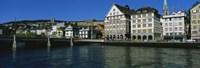 Buildings at the waterfront, Limmat Quai, Zurich, Switzerland Fine-Art Print
