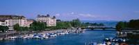 High angle view of a harbor, Zurich, Switzerland Fine-Art Print