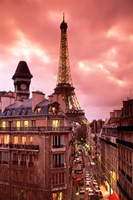 Paris Street Scene with Eiffel Tower and Red Sky Fine-Art Print
