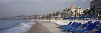 Empty lounge chairs on the beach, Nice, French Riviera, France Fine-Art Print