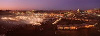High angle view of a market lit up at dusk, Djemaa El Fna, Medina Quarter, Marrakesh, Morocco Fine-Art Print