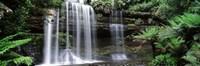 Waterfall in a forest, Russell Falls, Mt Field National Park, Tasmania, Australia Fine-Art Print