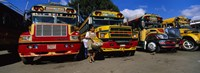 Buses Parked In A Row At A Bus Station, Antigua, Guatemala Fine-Art Print