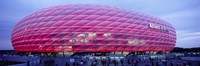 Soccer Stadium Lit Up At Dusk, Allianz Arena, Munich, Germany Fine-Art Print