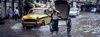 Cars and a rickshaw on the street, Calcutta, West Bengal, India Fine-Art Print