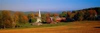 Church and a barn in a field, Peacham, Vermont, USA Fine-Art Print