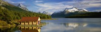 Boathouse at the lakeside, Maligne Lake, Jasper National Park, Alberta, Canada Fine-Art Print