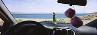 Lake viewed through the windshield of a car, Pyramid Lake, Washoe County, Nevada, USA Fine-Art Print