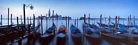 Row of gondolas moored near a jetty, Venice, Italy Fine-Art Print