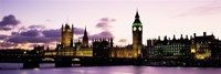 Buildings lit up at dusk, Big Ben, Houses of Parliament, Thames River, City Of Westminster, London, England Fine-Art Print