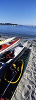 Kayaks on the beach, Third Beach, Sakonnet River, Middletown, Newport County, Rhode Island (vertical) Fine-Art Print